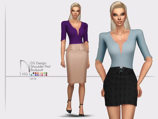 Sims 4 DS Design Shoulder Pad Bodysuit by DarkNighTt at TSR