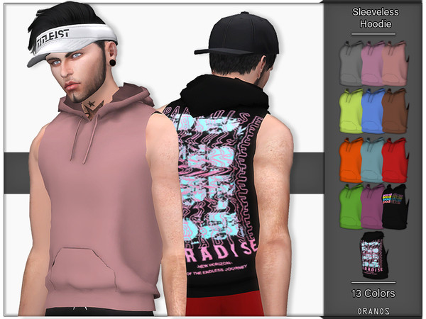 Sims 4 Sleeveless Hoodie by OranosTR at TSR