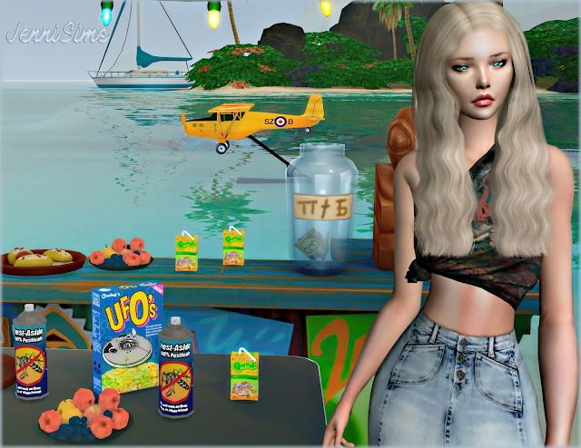 Sims 4 Light aircraft, juice, cereals, pesticide, fruits.. 6Items at Jenni Sims