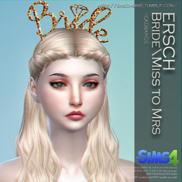 Sims 4 Bride/Miss to Mrs Headbands at ErSch Sims