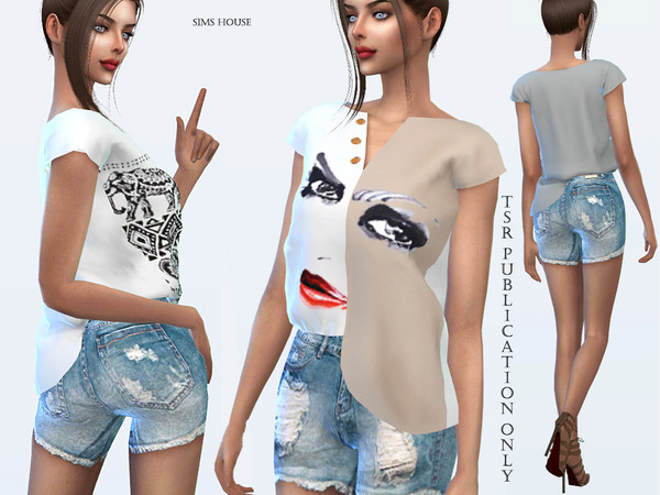 Tropics asymmetrical t shirt by Sims House at TSR image 1916 Sims 4 Updates