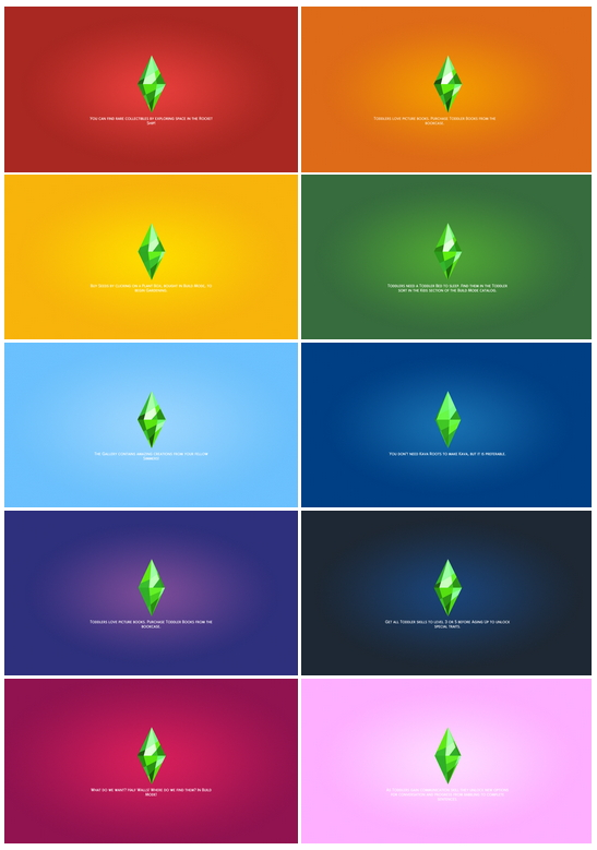 Sims 4 Loading Screen Overrides 10 Colors at Teanmoon