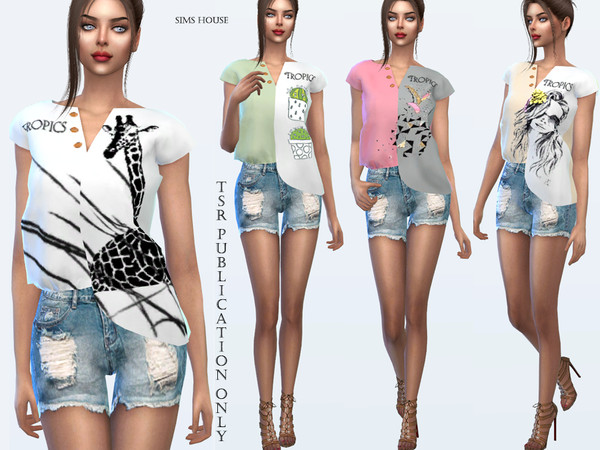 Tropics asymmetrical t shirt by Sims House at TSR image 2015 Sims 4 Updates