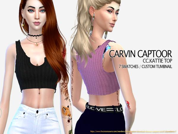 Sims 4 Kattie top by carvin captoor at TSR