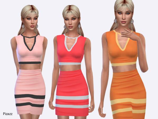 Sims 4 Flounce Halter Dress by pizazz at TSR