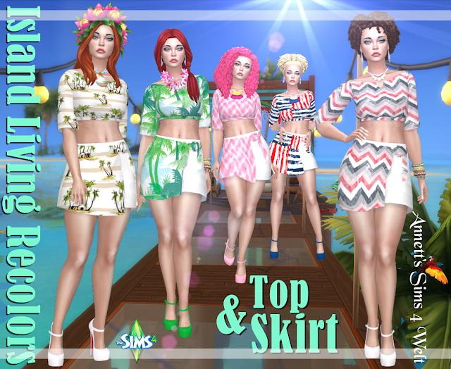 Sims 4 Island Living Top & Skirt Recolors at Annett's Sims 4 Welt