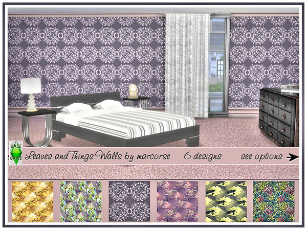 Leaves and Things Walls by marcorse at TSR image 2100 Sims 4 Updates