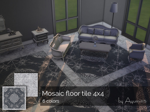 Sims 4 Mosaic floor tile 4x4 by Ayumi115 at TSR