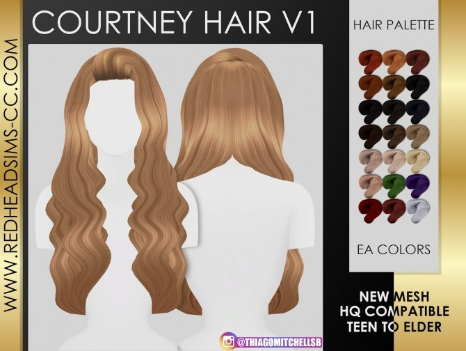 Sims 4 COURTNEY HAIR by Thiago Mitchell at REDHEADSIMS