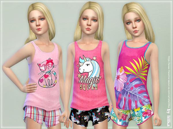 Sims 4 Summer Print Top & Shorts 04 by lillka at TSR