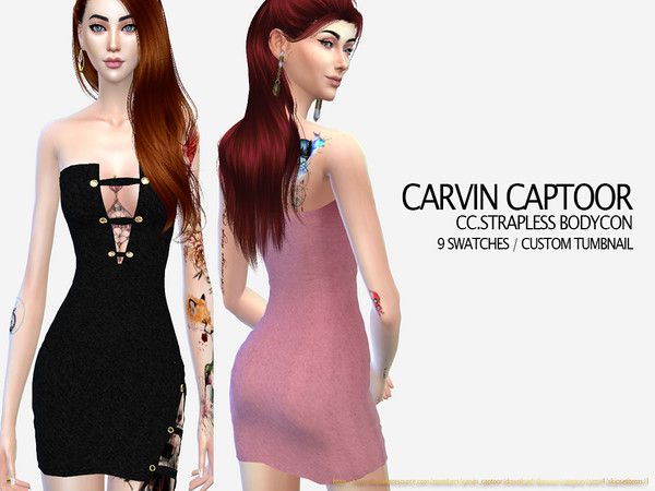 Sims 4 Strapless bodycon dress by carvin captoor at TSR