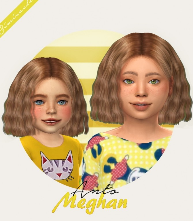 Sims 4 Anto Meghan hair for kids and toddlers at Simiracle