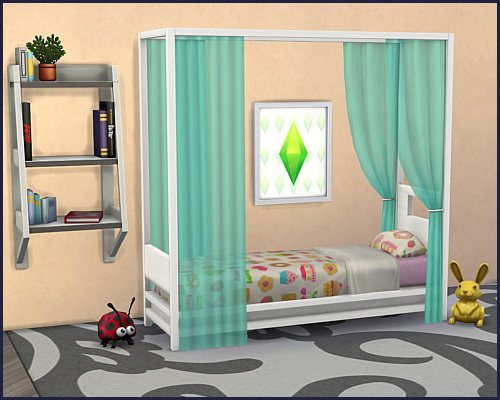 Sims 4 Bed frame Himmelbett Single at CappusSims4You