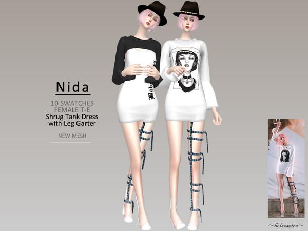 Sims 4 NIDA Shrug Dress w/ Leg Garter by Helsoseira at TSR