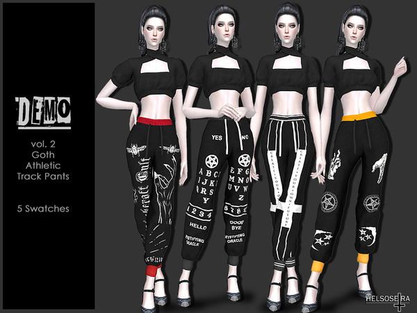 Sims 4 DEMO V.2 Goth Track Pants by Helsoseira at TSR