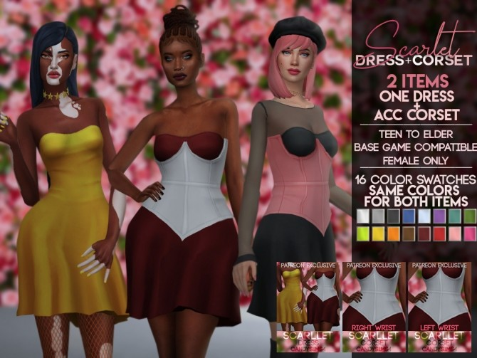 Sims 4 SCARLET DRESS & CORSET at Candy Sims 4