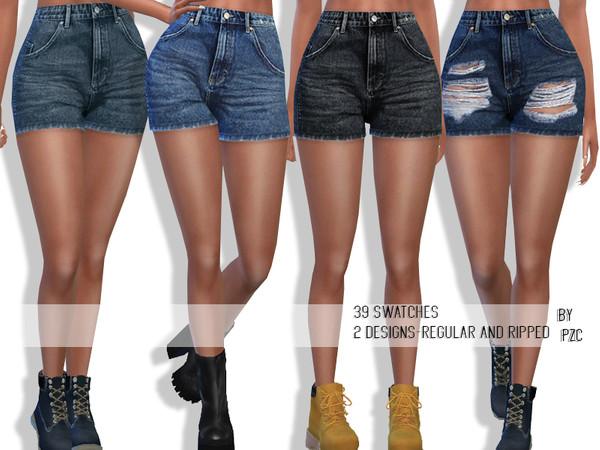 Sims 4 High Waisted Summer Denim Shorts by Pinkzombiecupcakes at TSR