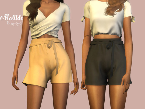 Matilde high waisted shorts by laupipi at TSR image 2913 Sims 4 Updates