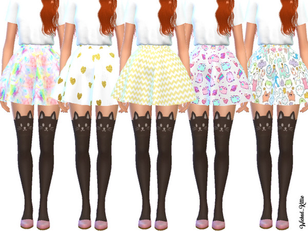 Sims 4 Cute Flared Mini Skirts by Wicked Kittie at TSR
