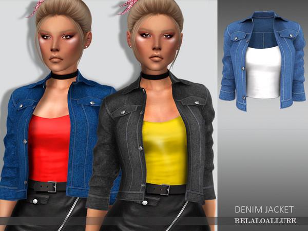 Sims 4 Belaloallure Denim jacket by belal1997 at TSR