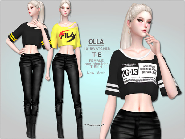 Sims 4 OLLA Open Shoulder T Shirt by Helsoseira at TSR