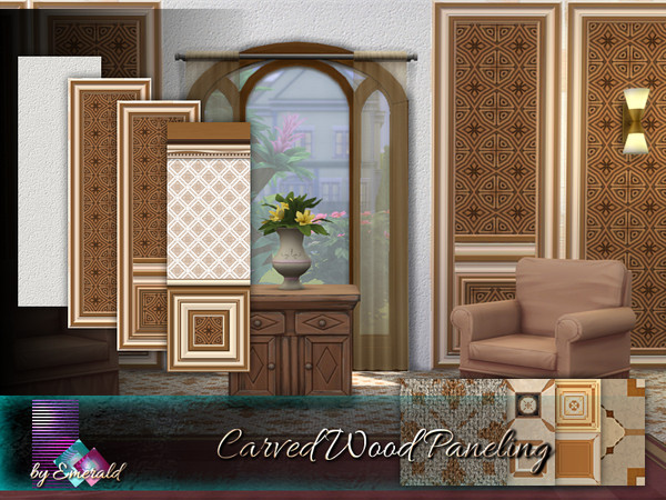 Sims 4 Carved Wood Paneling by emerald at TSR