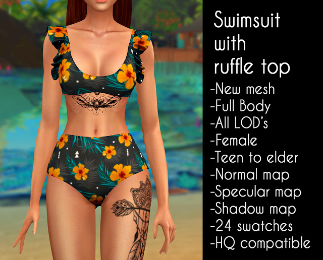 Sims 4 Swimsuit with ruffle top at LazyEyelids