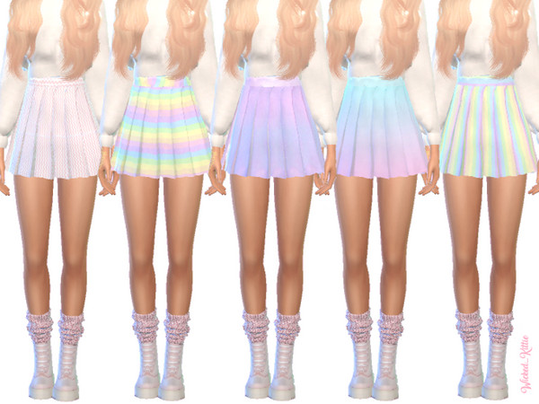 Sims 4 Pastel Pleated Skirts by Wicked Kittie at TSR