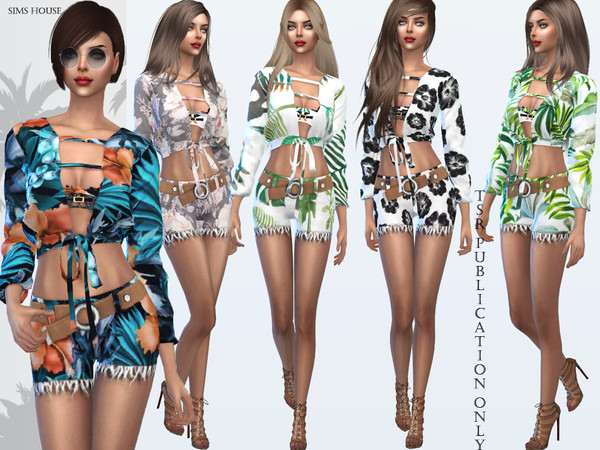 Sims 4 Tropics womens blouse by Sims House at TSR
