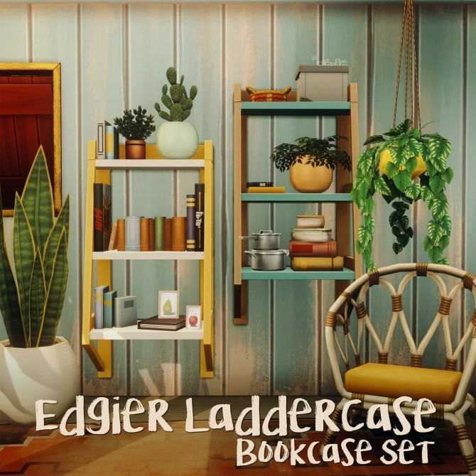 Sims 4 EDGIER LADDERCASE BOOKCASE SET at Picture Amoebae