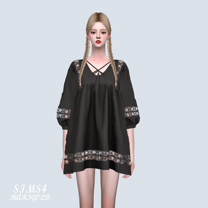 Ethnic Lace Loose Fit Mini Dress P At Marigold Sims 4
