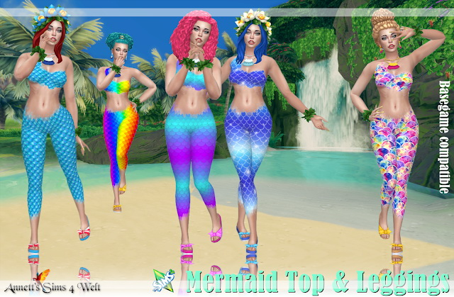 Sims 4 Mermaid Top & Leggings at Annett's Sims 4 Welt
