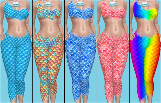 Sims 4 Mermaid Top & Leggings at Annett's Sims 4 Welt