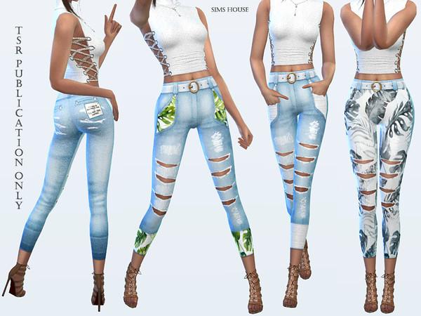 Sims 4 Tropics womens pants by Sims House at TSR