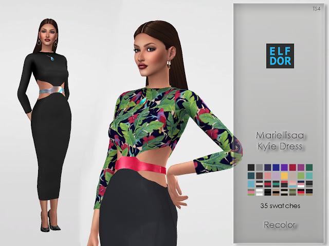 Mariellisaa Kylie Dress Recolor at Elfdor Sims image 3626 Sims 4 Updates