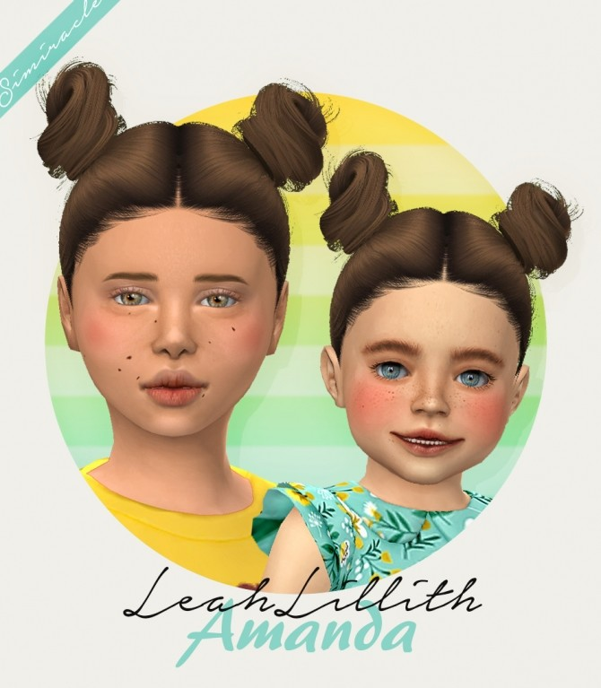 Sims 4 LeahLillith Amanda hair for kids and toddlers at Simiracle