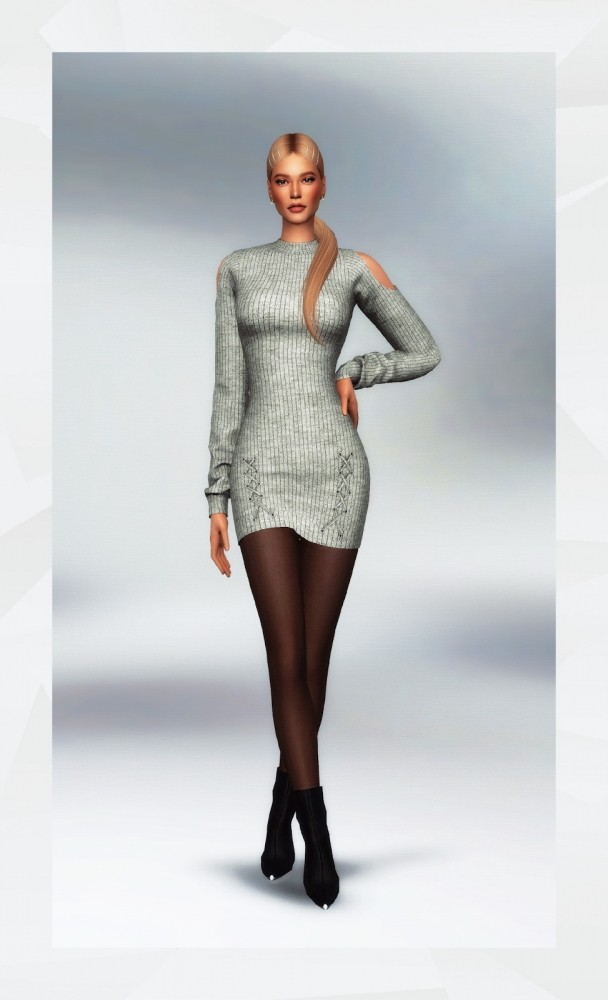 Sims 4 Cut Out Shoulder Sweater Dress at Gorilla