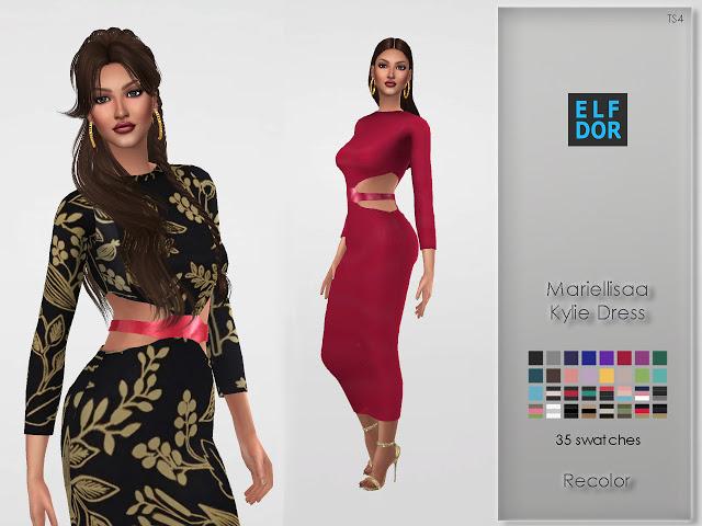 Mariellisaa Kylie Dress Recolor at Elfdor Sims image 3723 Sims 4 Updates