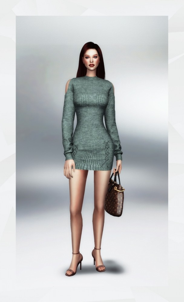 Cut Out Shoulder Sweater Dress at Gorilla image 3731 608x1000 Sims 4 Updates