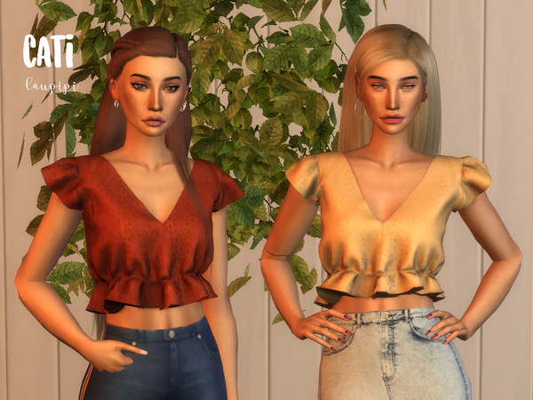 Cati cropped top by laupipi at TSR image 381 Sims 4 Updates