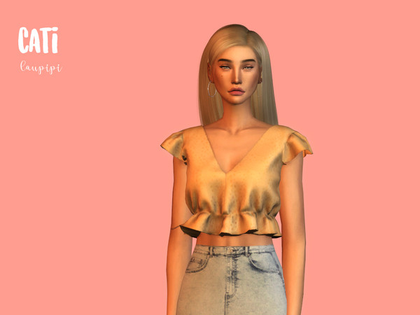 Cati cropped top by laupipi at TSR image 391 Sims 4 Updates