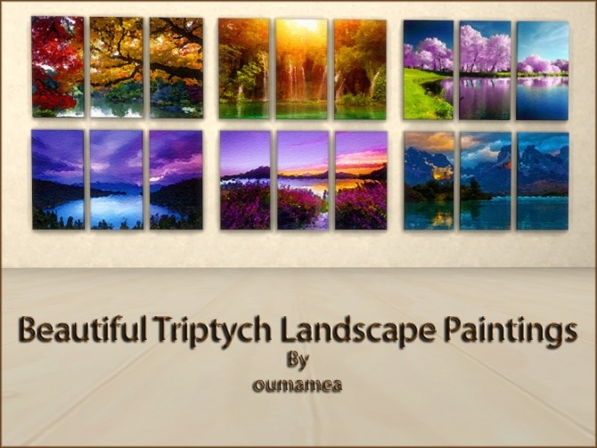 Sims 4 Mea Beautiful Triptych Landscape Paintings by oumamea at Mod The Sims
