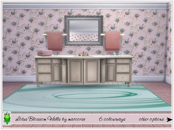 Sims 4 Lotus Blossom Walls by marcorse at TSR