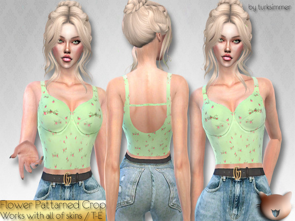 Sims 4 Flower Patterned Crop top by turksimmer at TSR
