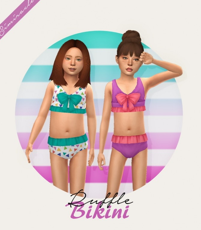 Ruffle Swimsuit with Bow Kids Version 3T4 at Simiracle image 4561 670x767 Sims 4 Updates
