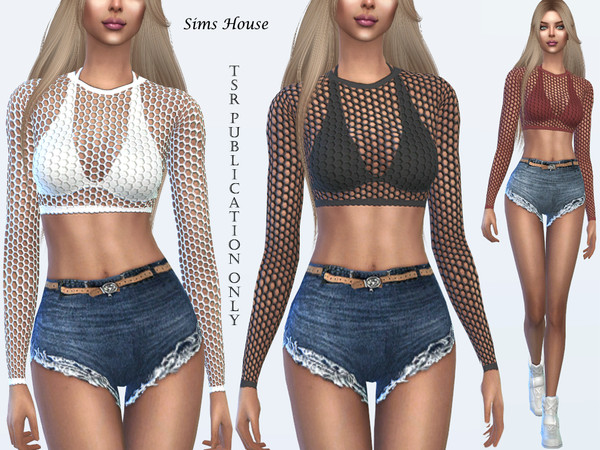 Sims 4 Tropics Mesh top for the beach by Sims House at TSR