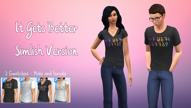 Simlish It Gets Better T Shirt Recolour by GalaxyVic at Mod The Sims image 467 670x377 Sims 4 Updates