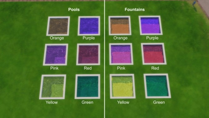 Sims 4 Custom Pool/Fountain Colours by Teknikah at Mod The Sims