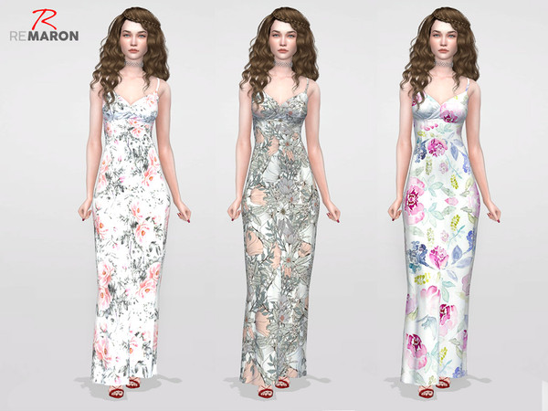 Sims 4 Dress Floral for women by remaron at TSR