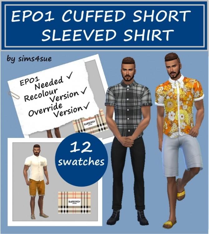 Sims 4 EP01 CUFFED SHORT SLEEVED SHIRT at Sims4Sue